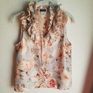 J. CREW Ruffled Silk Button Up Blouse